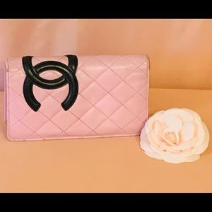 Authentic Chanel Cambon quilted yen wallet